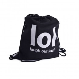 Czarny plecak worek na plecy z nadrukiem LOL