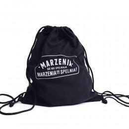 Czarny plecak worek na plecy z nadrukiem MARZENIA SIĘ NIE SPEŁNIAJĄ
