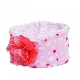 Jasnoróżowa opaska na głowę dla niemowlaka z kwiatkiem 26cm