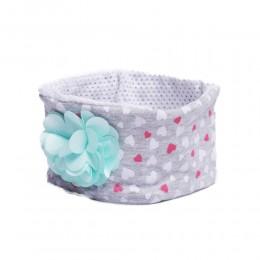 Jasnoszara opaska na głowę dla niemowlaka z kwiatkiem 26cm