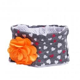 Szara opaska na głowę dla niemowlaka z kwiatkiem 26cm