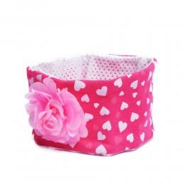 Różowa opaska wiosenna na głowę dla niemowlaka z kwiatkiem 26cm