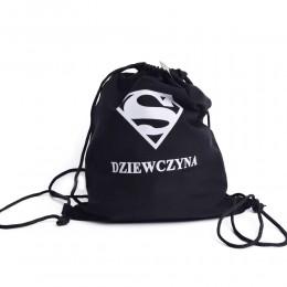 Plecak szkolny worek z nadrukiem na sznurkach DZIEWCZYNA