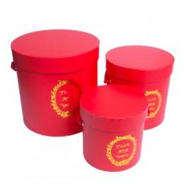 Czerwony flower box pudełko na kwiaty prezenty zestaw 3 pudełek