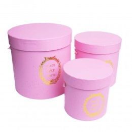 Różowy flower box pudełko na kwiaty prezenty zestaw 3 pudełek