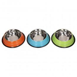 Kolorowa metalowa miska na gumie dla psa kota