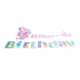 MAŁA SYRENKA girlanda urodzinowa baner urodzinowy Happy Birthday