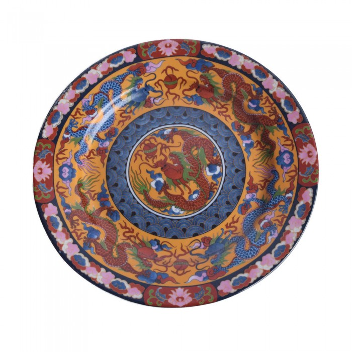 CHIŃSKI masywny talerz dekoracyjny SMOK smoki cm
