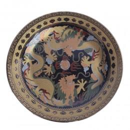 Czarno złoty chiński talerz dekoracyjny walczące smoki smok cm