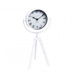 Biały zegar na trójnogu / zegar stojący metalowy sztalugowy 3 nogi