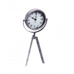 Szary zegar na trójnogu / zegar stojący metalowy sztalugowy 3 nogi
