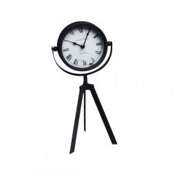 Czarny zegar na trójnogu / zegar stojący metalowy sztalugowy 3 nogi