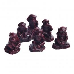 Figurki dekoracyjne małpki małpy szczęścia zestaw na prezent 6 szt.