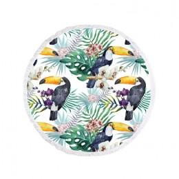 Duży ręcznik plażowy okrągły BOHO tukany ∅ 150 cm