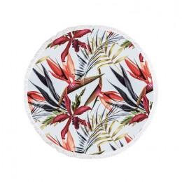 Ręcznik plażowy okrągły BOHO kwiaty Strelicja Hibuskus