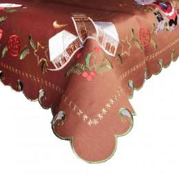 Brązowy obrus świąteczny Boże Narodzenie haftowany 85x85