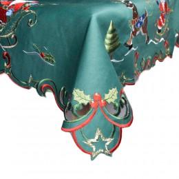 Zielony obrus świąteczny na Boże Narodzenie haftowany 85x85 MIKOŁAJ