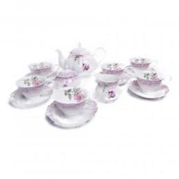 Porcelanowy serwis do kawy i herbaty na 6 osób 15 ele. PASTELOWA RÓŻA