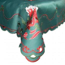 Zielony obrus świąteczny Boże Narodzenie haftowany 85x85 ŚWIECZKI
