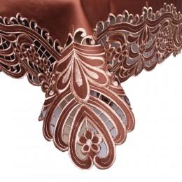 Brązowa serweta haftowana 85x85 kwadrat / bieżnik na stół kwadratowy