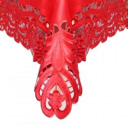 Czerwona serweta haftowana 85x85 kwadrat / bieżnik na stół kwadratowy